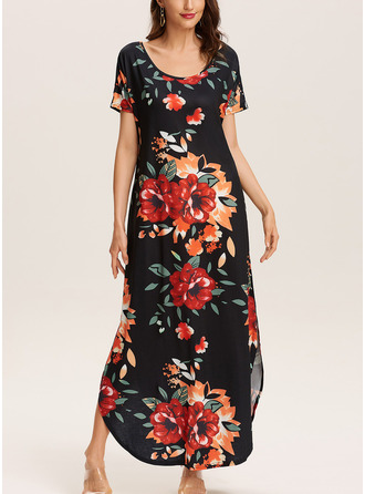 Floral Print Shift Short Sleeves Maxi Boho Casual Vacation Dresses