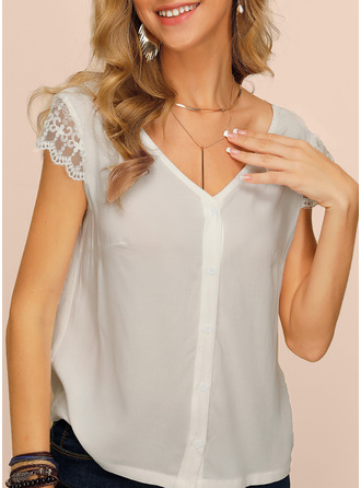 Solid V-Neck Short Sleeves Casual Sexy