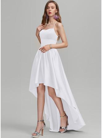 A-Line Square Neckline Asymmetrical Satin Prom Dresses