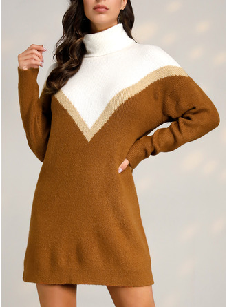 Color Block Shift Long Sleeves Midi Casual Sweater Dresses
