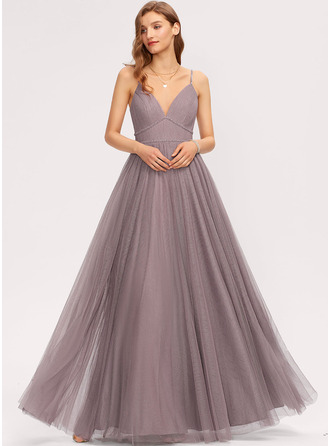 A-Line V-neck Floor-Length Tulle Bridesmaid Dress