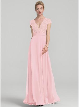 A-Line V-neck Floor-Length Chiffon Evening Dress With Ruffle