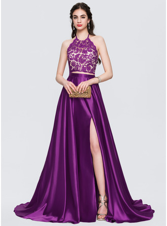 A-Line Halter Sweep Train Satin Prom Dresses With Beading Bow(s) Split Front