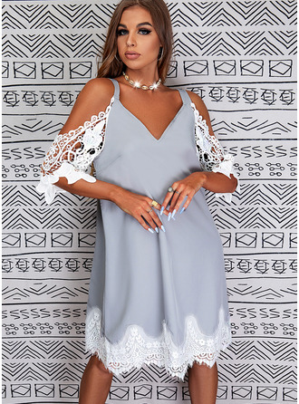 Shift 3/4 Sleeves Midi Casual Tunic Dresses