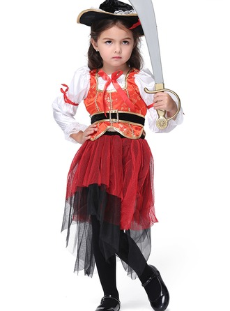 A-Line/Princess Knee-length Flower Girl Dress - Polyester Long Sleeves Peter Pan Collar