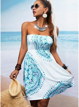 Estampado Vestido linha-A Sem mangas Mini Casual férias Skatista Vestidos na Moda