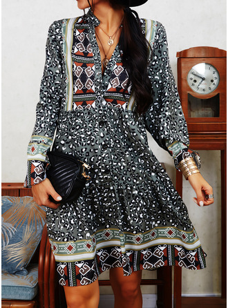 Leopard Print Shift Long Sleeves Mini Boho Casual Tunic Dresses