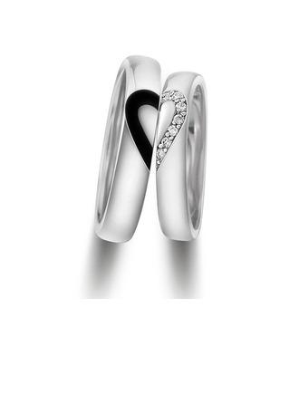 Sterling zilver Zirconia Hart Ronde Snede Paar ringen - Valentines Geschenken