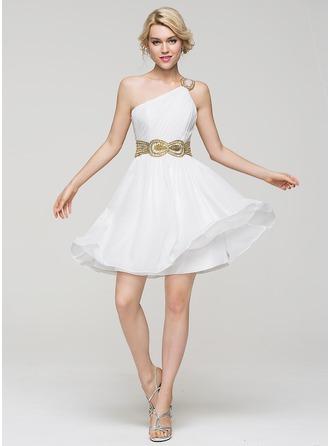 A-Line/Princess One-Shoulder Short/Mini Chiffon Homecoming Dress With Ruffle Beading Sequins