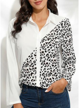 Leopard Lapel Long Sleeves Casual Shirt Blouses