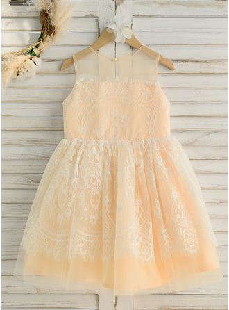 A-Line Knee-length Flower Girl Dress - Satin/Tulle/Lace Sleeveless Scoop Neck
