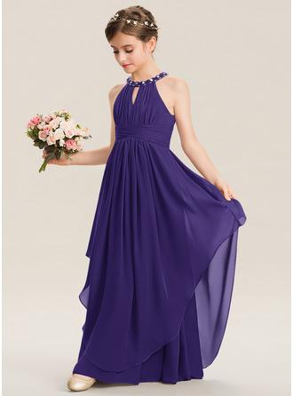 A-Line Scoop Neck Floor-Length Chiffon Junior Bridesmaid Dress With Ruffle Beading