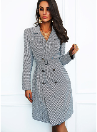 Print Sheath Long Sleeves Midi Elegant Dresses