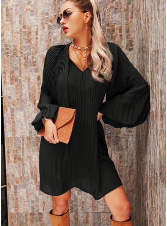 Solid Shift Long Sleeves Mini Little Black Casual Tunic Dresses