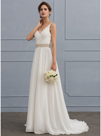 A-Line/Princess V-neck Sweep Train Chiffon Wedding Dress With Ruffle Lace Beading Sequins