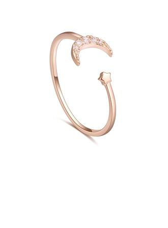 Elegante Cobre/Zircon Senhoras Anéis