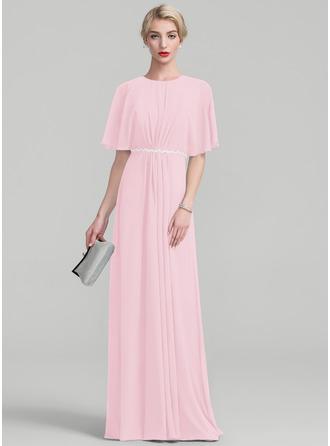 A-Linie/Princess-Linie U-Ausschnitt Bodenlang Chiffon Kleid für die Brautmutter mit Rüschen Spitze Perlstickerei