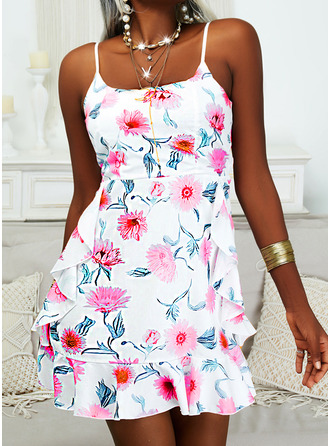 Floral Print Sheath Sleeveless Mini Casual Type Dresses