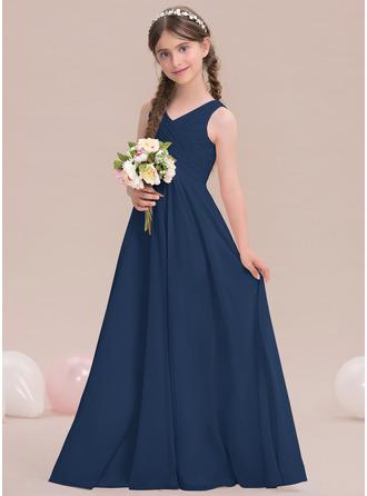 A-linjainen/Prinsessa V-kaula-aukko Lattiaa hipova pituus Sifonki Nuorten morsiusneito mekko jossa Rypytys