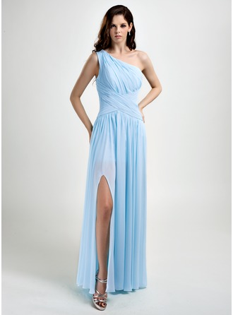 A-Line/Princess One-Shoulder Floor-Length Chiffon Prom Dresses With Ruffle Split Front