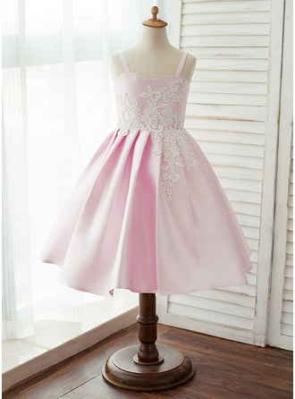A-Line/Princess Knee-length Flower Girl Dress - Satin Sleeveless Straps With Lace