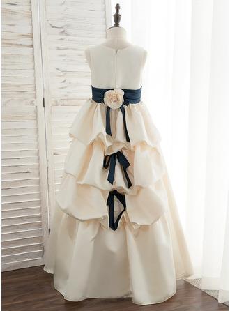 De Baile/Princesa Longos Vestidos de Menina das Flores - Cetim Sem magas Decote redondo com Cintos/fecho de correr