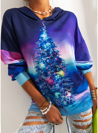 Print Forest Long Sleeves Christmas Sweatshirt
