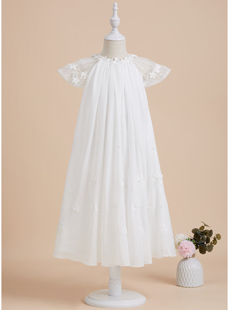 A-Line Scoop Neck Tea-length With Lace Chiffon Flower Girl Dress