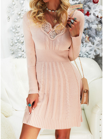 V-Neck Casual Long Lace Solid Cable-knit Sweaters