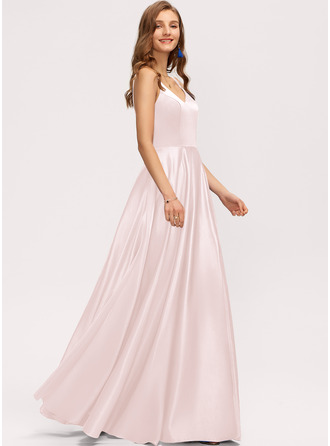 A-Linie V-Ausschnitt Bodenlang Satin Brautjungfernkleid mit Taschen