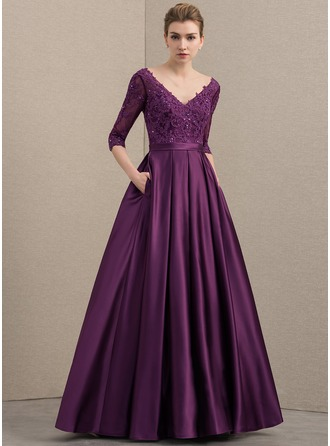 A-Line/Princess V-neck Floor-Length Satin Lace Mother of the Bride Dress With Beading Sequins Pockets