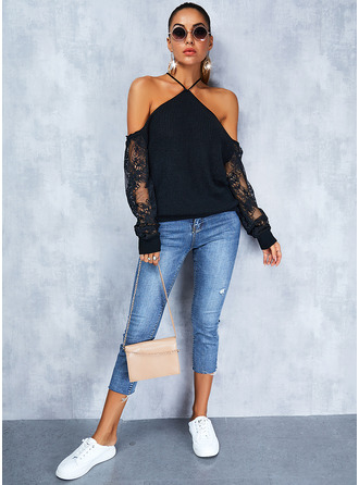 Cold Shoulder Sexy Solid Sweaters