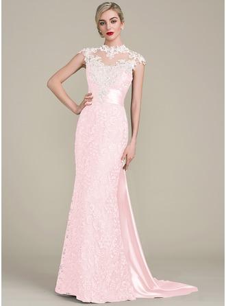 Trompete/Meerjungfrau-Linie U-Ausschnitt Watteau-falte Spitze Kleid für die Brautmutter mit Perlstickerei Pailletten