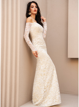 Trumpet/Mermaid Off-the-Shoulder Floor-Length Wedding Dress