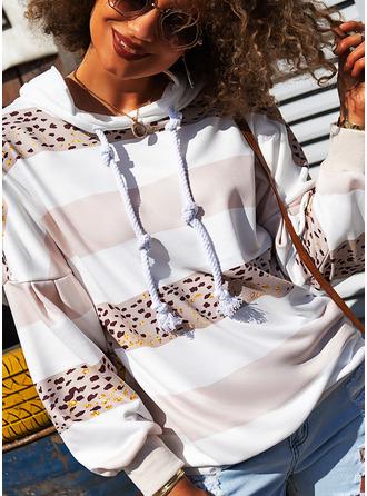 Bloc de Couleur Imprimé Manches Longues Sweat-shirt
