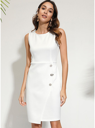 Sheath Round Neck Polyester Dresses