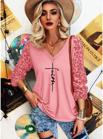 Leopard Figure Print V-Neck Long Sleeves Casual T-shirt