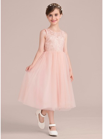 A-Line/Princess Scoop Neck Tea-Length Chapel Train Junior Bridesmaid Dress With Beading Bow(s)