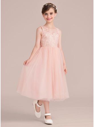 A-Linie/Princess-Linie U-Ausschnitt Wadenlang Kleid für junge Brautjungfern mit Perlstickerei Schleife(n)