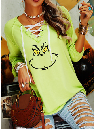 Print V-Neck Long Sleeves Casual Christmas Blouses