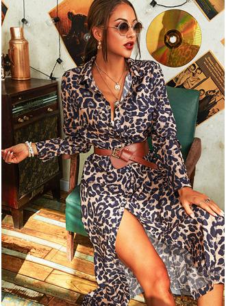 Leopardo Bainha Manga Comprida Maxi Casual Vestidos na Moda