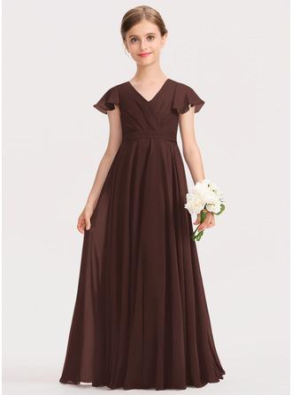 Corte A Decote V Longos Tecido de seda Vestido de daminha júnior com Curvado Babados em cascata