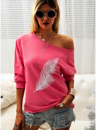Druck Eine-Schulter Lange Ärmel Lässige Kleidung Blusen (1003251420)
