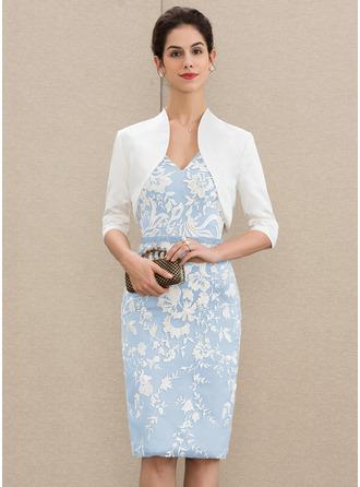 Платье-чехол V-образный Длина до колен Кружева Платье Для Матери Невесты с развальцовка блестки
