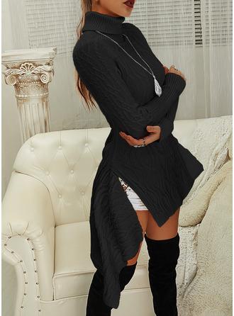 Rollkragen Lässige Kleidung Lange Einfarbig Zopfmuster Pullover