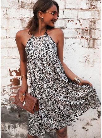 Leopardo Estampado Vestidos soltos Sem mangas Mini Casual Vestidos na Moda