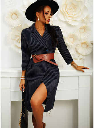 Striped Sheath 3/4 Sleeves Midi Casual Elegant Dresses