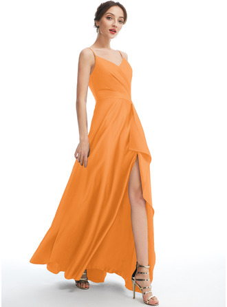 A-Line V-neck Floor-Length Bridesmaid Dress With Split Front Pockets