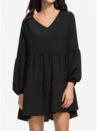 Jednolity Suknie shift Długie rękawy Mini Mała czarna Zabytkowe Tunika Modne Suknie