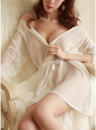 Non-personalized Nylon Bride Blank Robes Lace Robes